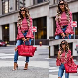 2019 camisolas sem mangas 2019 Mulheres Moda Vintage Branco E Vermelho Listrado Camisa Blusas de Algodão Mistura Tops retro roupas Alargamento das mulheres camisas femininas