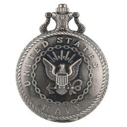 Marine antiquitäten online-Antike Marine Symbol Quarz Taschenuhr Armee Kette Halskette Anhänger Geschenk FOB Uhr Kunst Sammlerstücke Geschenk für Männer Frauen