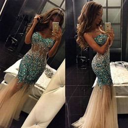 silver rhinestone prom dress halter Coupons - Sparkly Crystal Tulle Prom Dresses Sweetheart Sequined Rhinestone abendkleider Cocktail Dress Long Champagne Evening Party Gowns