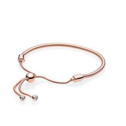 14 K Rose Gold Anlar Ayarlanabilir boyut El Kayışı Orijinal kutusu Pandora 925 Ayar Gümüş Bilezik Kadınlar Kızlar için nereden