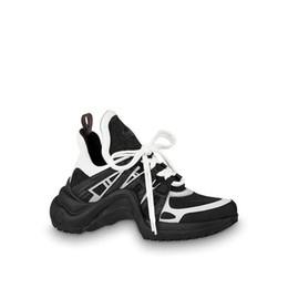 Подлинный кроссовки онлайн-Дизайнерская черная повседневная обувь Белая синяя монограмма Черные кроссовки ARCHLIGHT Натуральная кожа Кроссовки для бега с обувью Коробка