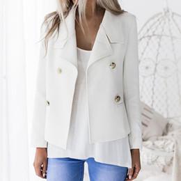 blazer con colletto Sconti Blazer donna autunno inverno solido collare stand doppio pulsante Decor fibbia ufficio signora manica lunga Slim cappotto caldo giacca