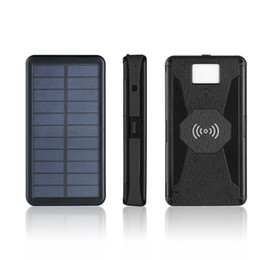 cargador de restaurante Rebajas Banco de la energía solar 20000mAh cargador solar de 2 puertos USB llevó el banco externo de la energía del cargador de batería inalámbrica Qi para el iPhone Xiaomi