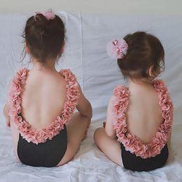 trajes de baño princesa Rebajas Traje de baño para niños de 2019 Chicas coreanas Bikini con volante de bikini Pétalo sin respaldo Princesa Trajes de baño Trajes de baño de una pieza Traje de baño para niños en la playa