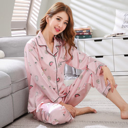 2019 Spring Autumn Silk Satin Pajamas Sets for Women Long Sleeve Pyjamas  Femme Print Sleepwear Loungewear Homewear Pijama Mujer 667257f8b