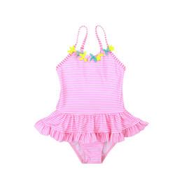 Bagno di petalo di fiori online-Costume da bagno per bambini carino Costume da bagno intero Costumi da bagno Fiori all'ingrosso Vestito a strisce rosa Petalo gonna Export 2019 Summer Boutique