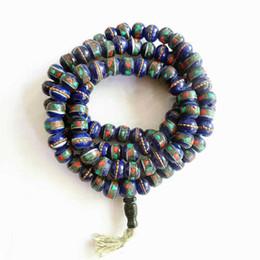 Tibetano cuentas de oración mala online-Tibetano 108 UNIDS Yak hueso meditación meditación Mala 8 mm azul marino hueso de buey cuentas BRO567