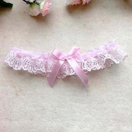 Heiße rosa strumpfbänder online-NEUE sexy heiße Braut Hochzeit Strumpfband Spitze weiß hell lila rosa schwarz Prom Holen Sie sich das gute Zeug Lovely shaped