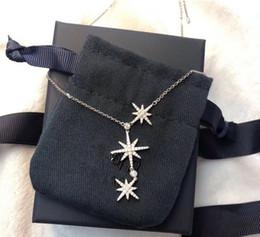 2020 silberne dreifachkettenhalskette Luxus klassischer Designer S925 Sterlingsilber-Voll Zircon Triple-Meteorite Stern Halskette für Frauen Schmuck günstig silberne dreifachkettenhalskette