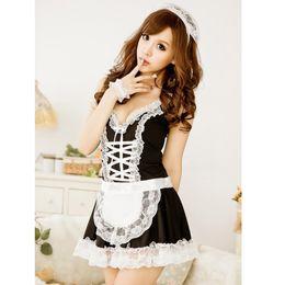 горничная косплей платье лолита Скидка Women Sexy Maid Costumes Lace Apron Lingerie Babydoll Servant Girl Lolita Dress Erotic Uniform Role Play Cosplay Sexi Nightwear