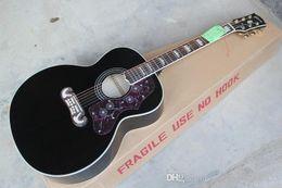 Balıkçı Pikaplar olmadan Custom Shop Yeni Geliş Ladin Siyah S-J-200 6 Strings Akustik Gitar cheap guitar black strings acoustic nereden gitar kara dizeleri akustik tedarikçiler