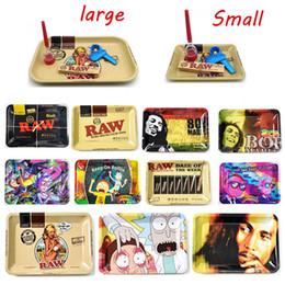 Bandejas de fumar on-line-Metal Chic RAW Bob Marley rolo dos desenhos animados cachimbos Bandeja tabaco de enrolar Bandeja 180 * 125 milímetros / 285 * 185 milímetros para o papel rolando erva tabaco