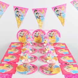 conjuntos de decoración de la ducha del bebé Rebajas 91 unids / lote suministros de fiesta de princesa decoración de cumpleaños para niños suministros de decoración de fiesta de cumpleaños para bebés conjunto de fiesta de baby shower SH190911