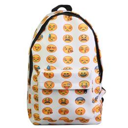 Argentina Diseñador-Venta al por mayor-2015 Mochilas de lona de alta calidad para mujeres Smiley Emoji Impresión de la cara Bolso de escuela para adolescentes Bolso bandolera Feminina cheap smiley backpacks Suministro