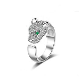 Top Testa di leopardo, testa di leopardo di moda Anelli di diamanti Anello di animali Anello di gioielli in oro rosa e argento creativi da