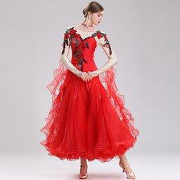 swing tanz kostüme Rabatt Dame-Ballsaal-Tanz-Kleid elastische Stickerei Big Swing-Kleid-Frauen-lateinischer Ballsaal Walzer Wettbewerb Abschneiden Kostüme