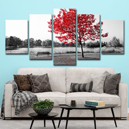 art canvas red tree painting Coupons - (Only Canvas No Frame) 5Pcs Red Maple Leaf Tree Autumn Scenery Landscape Wall Art HD Print Canvas Painting Fashion Hanging Pictures