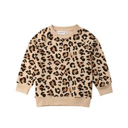 Felpa della ragazza del leopardo online-Toddler Baby Girl Clothes Bambini Boy Girl Leopard Print manica lunga Pullover Felpe con cappuccio Cappotto 1-7 anni