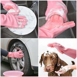 Посудомоечные перчатки онлайн-Волшебные силиконовые перчатки для мытья посуды кухонные принадлежности перчатки для мытья посуды бытовые инструменты для чистки автомобиля щетка для домашних животных
