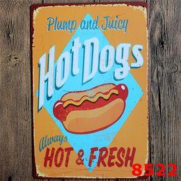 Sinais do alimento do vintage on-line-Placas De Parede De Metal Do Vintage Placa De Lata De Cupcake Sorvete Hamburger Food Design Sinais De Metal Placa De Lata Bar Pub Garagem Decoração