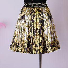 2019 falda lápiz mujer raso estilo de la alta corte de la cintura nueva cosecha de moda de verano impresa falda plisada falda dropshipping al por mayor son tanto bienvenida LY191116
