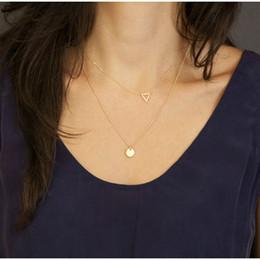 2019 triángulo de cobre encanto Collar de lentejuelas de cobre de doble triángulo hecho a mano nuevo y simple hecho a mano, las mujeres del encanto de Bohemia prefieren triángulo de cobre encanto baratos