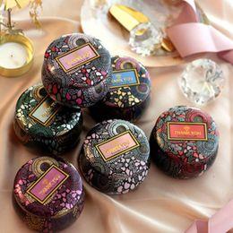 zinnbox geschenk rund Rabatt Blumen-Tee-Kasten Kerzenhalter aus Glas Vergolden Ursprünglichkeit Tin Multicolor-Süßigkeit-Kasten Trauung Geschenke Aufbewahrungsboxen ZZA1362-1