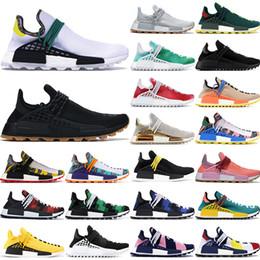 2019 Human Race Hu Trail X Pharrell Williams mens scarpe firmate Conoscere anima solare pacchetto Afro Holi formatori tela bianca donne Sneakers Sport cheap packing shoes da scarpe da imballaggio fornitori