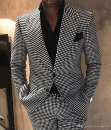 2019 ternos para homens bowtie Houndstooth Mens ternos noivo smoking pico lapela homens casamento smoking moda homens jaqueta Blazer Prom jantar / Darty Suit (Jacket + Pants + BowTie) desconto ternos para homens bowtie