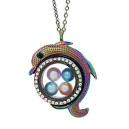 Muticolor Cute Dolphin Glass Locket Pendant Bead Pearl Cage Living Memoria galleggiante Charms Ciondolo collana di strass con catena in acciaio da catena ciondolo delfino fornitori
