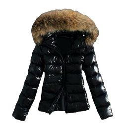 El invierno caliente del collar Outwear la piel de imitación con capucha de la cremallera Puffer capa de la chaqueta de las mujeres desde fabricantes