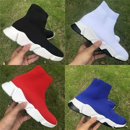 flat shoes socks Promo Codes - High stretch knit Paris Speed trainer casual sock shoes Flat bottom breathe Platform Luxury Designer Mens Womens Fashion Boots Sneakers
