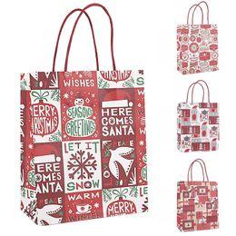 papel de regalo rojo de navidad Rebajas Bolsas de papel de regalo de Navidad Red de Navidad envolver regalos de Año Nuevo decoraciones navideñas de papel Kraft fiesta de Navidad Bolsa Bolsas