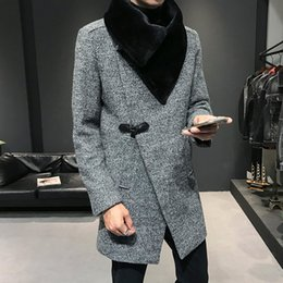 Winter Lang Fit Woll Zweireihiger Mäntel Herren Pelz Großhandel Mantel Jacke Trench Coats Kragen Lange Slim Vintage Herren Gabardina Von ulFc3K1TJ5
