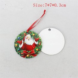 Décorations carrées en Ligne-Christmas Ornaments Decorations Round Square Snow Shape Decorations Hot Transfer Printings Blank Xmas Consumable New Styles EEA243