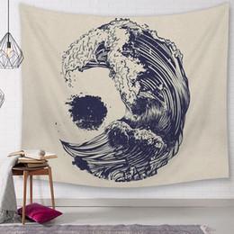Mural do mar on-line-Tecido de poliéster decoração da parede do vintage estilo japonês tapeçaria sol e oceano arte da suspensão do mar onda tapiz tenture mural