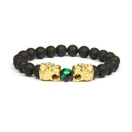 I braccialetti della testa del leone online-Nuovi gioielli da uomo Doppio leopardo Leone Testa di tigre Bracciale con braccialetti di perline di pietra naturale da 8 mm Braccialetto per regalo
