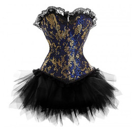 8eab92c848d punk corset tops 2019 - Goth Punk Burlesque Blue Gold Brocade Boned Corset  Dress Halloween Party