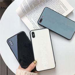 teléfonos baratos Rebajas caja del teléfono de cristal duro borde suave caja de vidrio templado de lujo para el iphone X / XS Max / 8 más / Galaxy S10 personalizada de la INSIGNIA