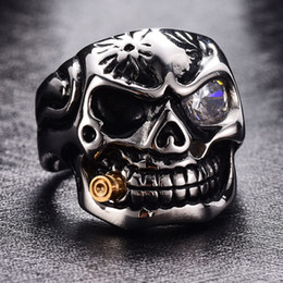 316LTitanium Acier Or Fumer Biker Anneaux Pour Hommes Rock Punk Skull Anneau Effacer Zircon Eye Plating Anneaux Hommes Bijoux Anneau Taille: 7-13 # ? partir de fabricateur