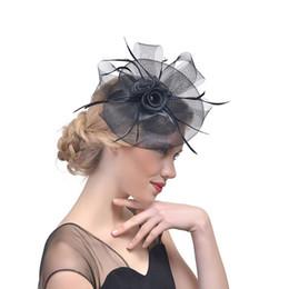 velos faciales baratos Rebajas Black Bird cage Net Boda Nupcial Fascinator Sombreros Cara Velo Pluma negro para la fiesta de la Mascarada Prom HandWears Barato CPA1991