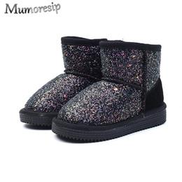2020 tornozelo, botas, pele, interior Tecido lantejoulas meninas da neve botas quentes sapatos de algodão Grosso Fur Dentro Médio Big Crianças Botas Crianças algodão Bling clássico tornozelo, botas, pele, interior barato