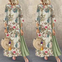 vestidos de verano étnicos para mujer Rebajas Womens Maxi vestido para la playa 2019 Summer media manga ocasional de Boho Kaftan Túnica gitana Ethnic Print floral del estilo más el tamaño de vestidos de S-5XL