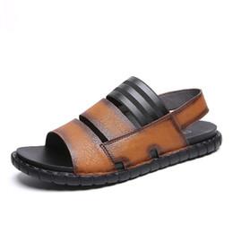 2020 Summer Mens Sandals Genuine Leather Classic Sandals Men Outdoor Casual Lightweight Sandeles Men Soft Fashion Big Size 44