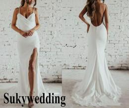 2019 sereia vestido de casamento marfim rápido 2019 nova praia sereia vestidos de casamento side dividir chiffon verão vestidos de noiva baratos hot sexy boho bainha vestidos de casamento