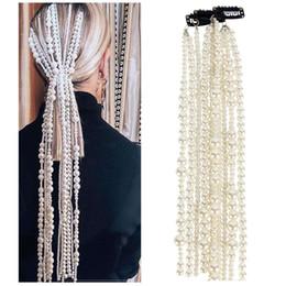2019 bolos de casamento de ouro branco preto Cadeia imitação Cabelo Pérola 2019 Jóias New Hair Fashion longas cadeias de liga para as Mulheres Exagerado Headwear Acessórios