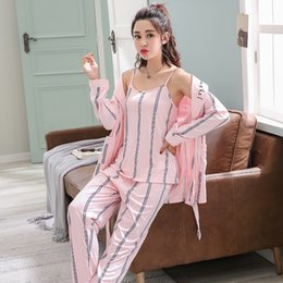 3PCS Sexy Casual Striped Cotton Pajama Sets for Women 2019 Spring Autumn  Long Sleeve Robes Sleepwear Femme Homewear Pijama Mujer efec6ee4a