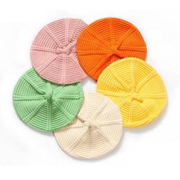 Девочка вязание шляпы берет онлайн-Дети дизайнер шляпы вязание шерсти Берет малышей шапки тыквы девушки шляпы мальчиков шапки детские шапочки дизайнерские аксессуары A8214