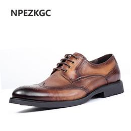 3885094a5 oxford artesanal Desconto Marca de Qualidade Superior Artesanal de Couro  Genuíno Sapatos Homens Apontou Toe Homens