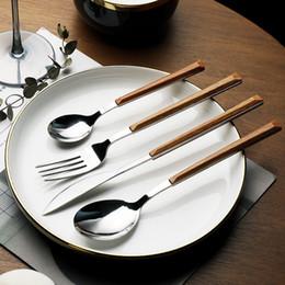 garfo de faca de sobremesa conjunto Desconto Aço inoxidável 4pcs conjunto de talheres Ocidental Faqueiro faca Fork colher de sobremesa Colher Tableware Set cabo de plástico louça Acessórios para Cozinha
